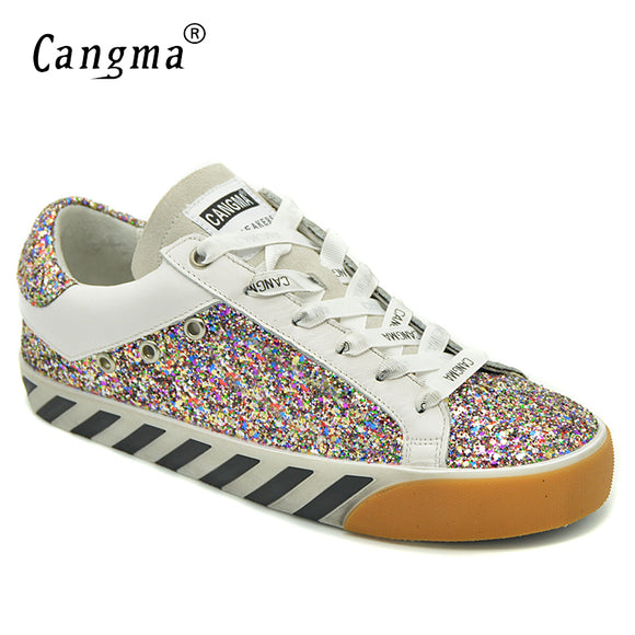 CANGMA Stylish Women Sneakers Sequined Flats Glitter Pink Breathable Shoes Suede