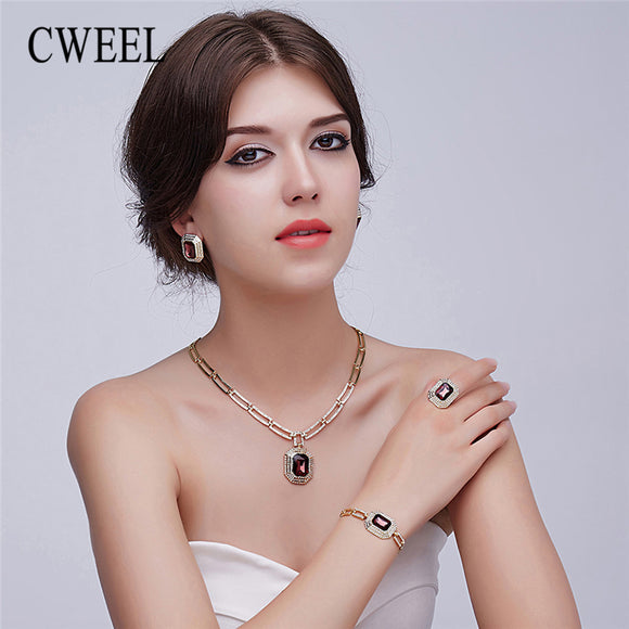 CWEEL Women Jewelry Sets Nigerian Wedding Dubai African Beads Jewelry Set Gold