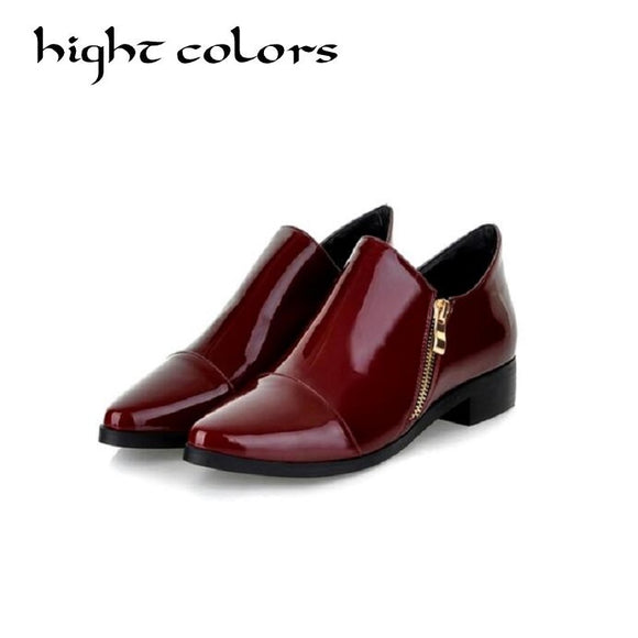 Fashion Patent Leather Pointed Toe Women Casual Flats Ladies Patchwork Side Zipper