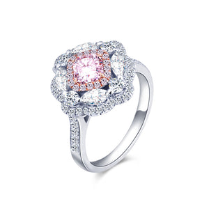 Luxury 18k Gold Pink Diamond Ring Pink Diamond Eye Diamond Princess Square Pillow