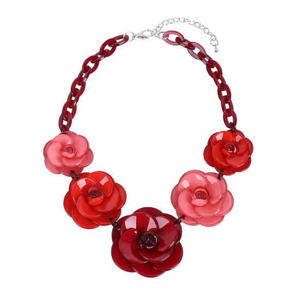 2018 New Fashion Acrylic Jewelry Women Retro Necklace Big Acrylic Rose Flowers