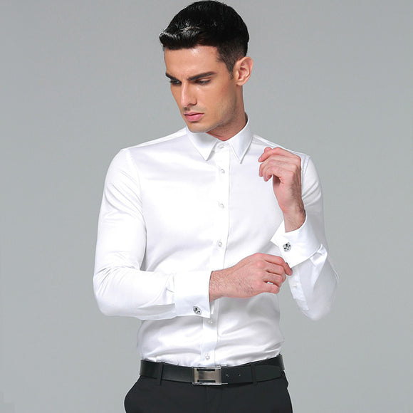 Men's Dress Shirt 100% Cotton 2018 Brands New Regular Fit Cufflink Shirts Business