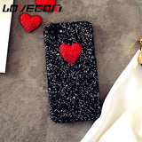 LOVECOM DIY Love Heart Glitter Powder Luxury Sequins Phone Case for Iphone 7 8 Plus X
