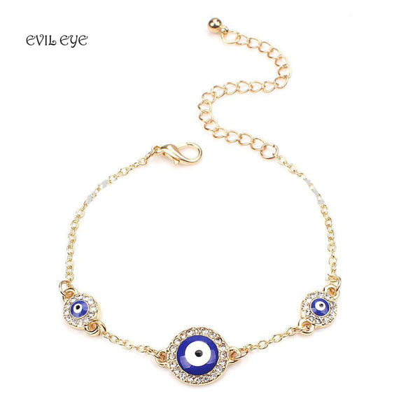 1pc Blue round evil eye charm bracelet fashion three crystal