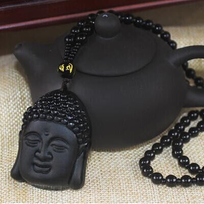 2018 Newest Black Natural Obsidian Buddha Pendant Necklace Lucky obsidian Buddha
