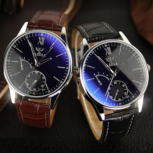 YAZOLE 2018 New Fashion Casual Mens Watches Brand Luxury Business Watch Men Leather Quartz Blue Ray Glass Wrist Watches Relogio