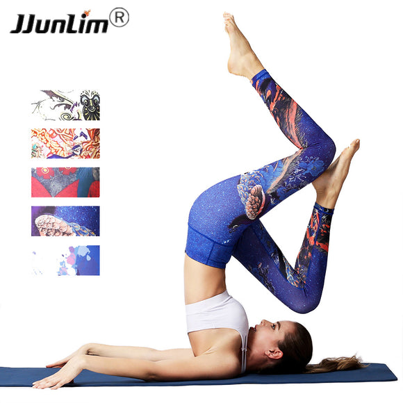 Women Yoga Pants Printed Sport leggings Stretched Fitness yoga Pants Workout Running Tight leggins sport women fitness Trousers