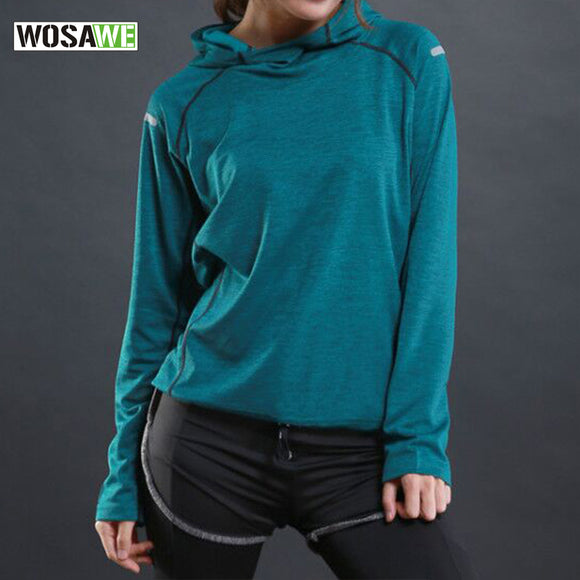 WOSAWE Sport Running T Shirt with hooded for Women Dry Quick Gym Shirt, Ladies Fitness Short Sleeve T-shirt Jogging Jogger Tops