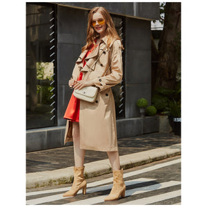 Pure Color Champagne Turtleneck Duster Coat