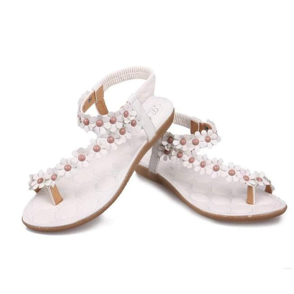 Summer Bohemia Sweet Beaded Sandals Clip Toe Sandals Beach Shoes