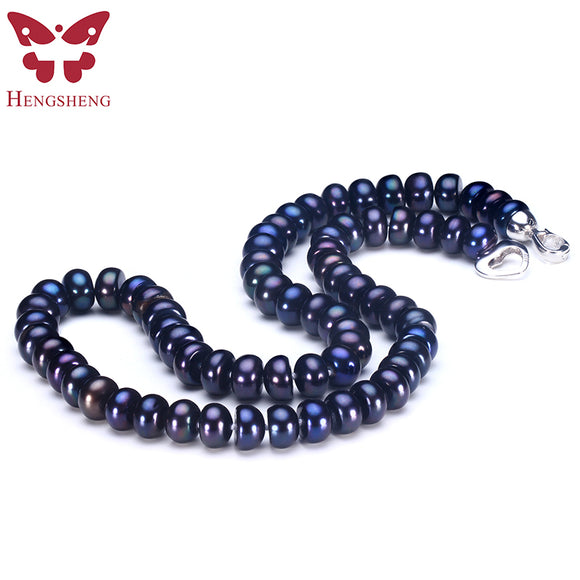 2018 Amazing New Real Black Pearl Jewelry Necklace For Women,Natural Freshwater