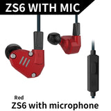 KZ ZS6 Quad Driver Earphones High Fidelity Extra Bass HIFI In Ear Earphone Running