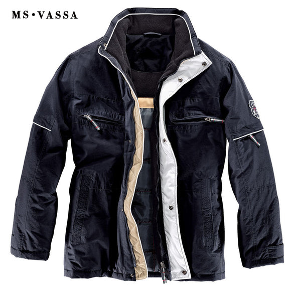 MS VASSA 2018 New Arrivals Navy Winter Jackets Mens Parka Coats Big Fleece Collar