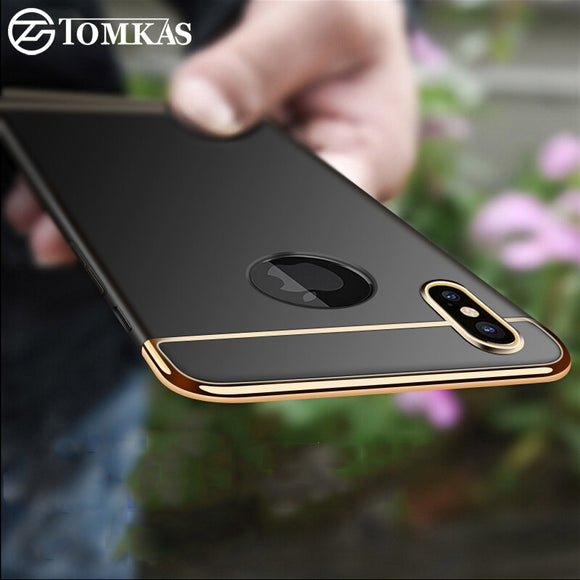 TOMKAS Fitted Case For iPhone X 10 Case 3 in 1 Ultra Thin Cover Plating Matte Mobile Phone Back Shell For iPhone X Cases