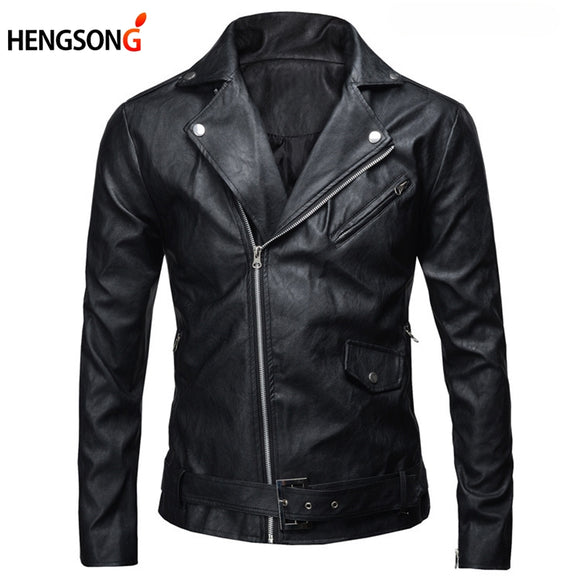 New PU Leather Jacket Fashion Men's Autumn Slim Fit Motorcycle Jacket With Zipper Casual Male Coat Outerwear Tops AQ821702