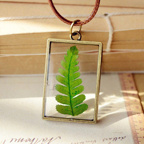 2018 Real Dry Dried Tree Leaf Glass Pendant Necklace Leather Chain natural plant leaf