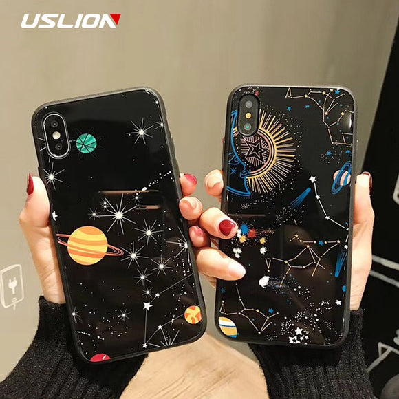 USLION Glossy Space Planet Stars Phone Case For iPhone X Luxury Glass Hard Back Cover For iPhone 8 7 6 6s Plus Cases Coque