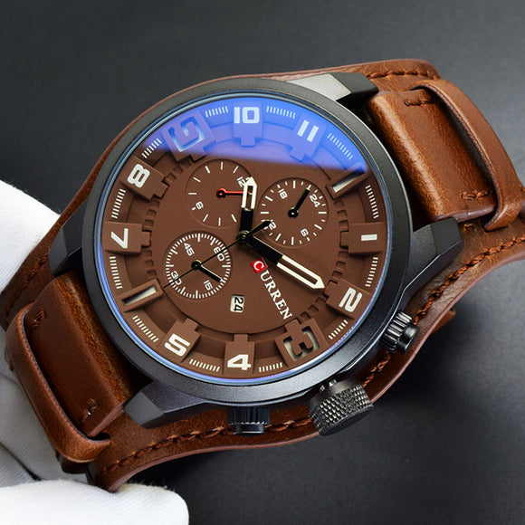 2018 Curren Mens Watches Top Brand Luxury Brown Leather Strap Quartz Watch Men