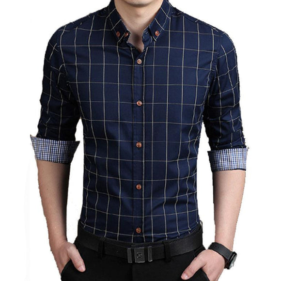 Brand 2018 Men'S Fashion Male ShirtsLapel Plaid Printing Chemise Big Size Homme Men