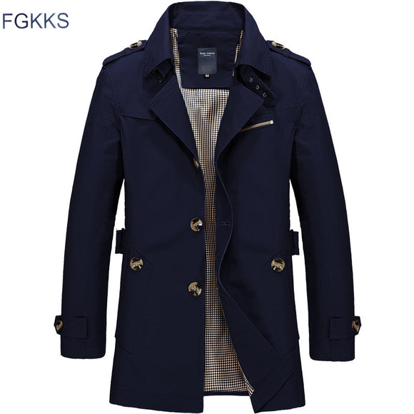 FGKKS Men Jacket Coat Long Section Fashion Trench Coat New Brand Casual Fit Overcoat