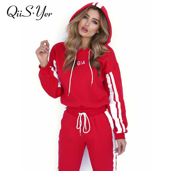 2 Piece red Hooded Hoodies Tracksuit Women Long Pant Brand Sweatsuit Fashion Casual