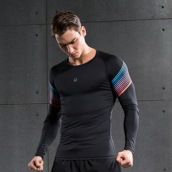 Men Compression Shirt Fitness Jogger Exercise Clothes Fashion Casual Long Sleeve T-Shirt