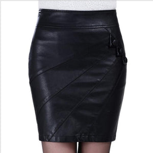 5xl Pu Leather Skirt Women Clothing 2018 Spring Summer Black Pencil Skirt Bandage