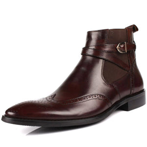 Mens Chelsea Boots With Buckle Genuine Leather Brogue Business Casual Shoes Office