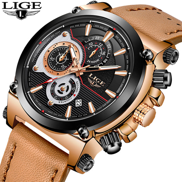 2018 LIGE Mens Watches Top Brand Luxury Quartz Gold Watch Men Casual Leather