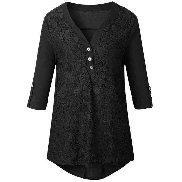 bbcf2618 Well-liked 2018 Spring Plus Size Tunic Embroidery Chiffon Blouses Women  Lace VO06