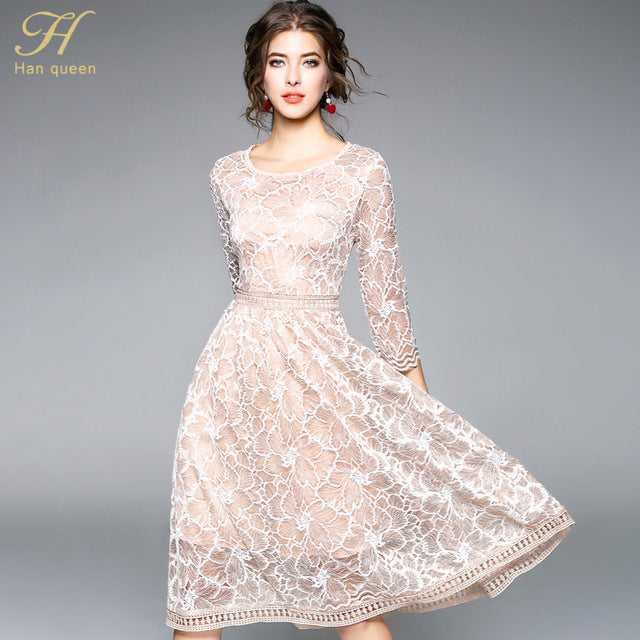 e05871a90bace H Han Queen 2018 Summer Lace Dress Work Casual Slim Fashion O-neck Sexy  Hollow Out