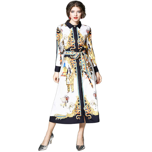 2018 Spring Summer Dress Women Shift Shirt Dress Floral Printed Jurk Dames Character