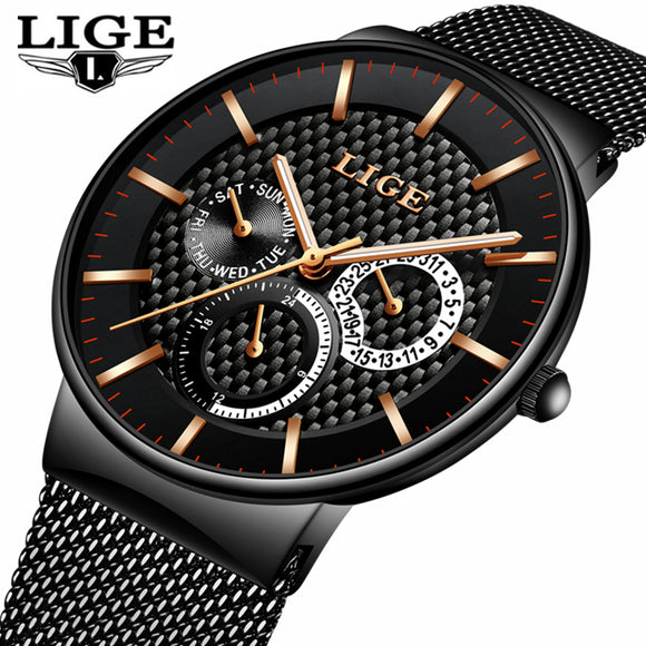 LIGE Fashion Mens Watches Top Brand Luxury Quartz Watch Men Casual Slim Mesh Steel