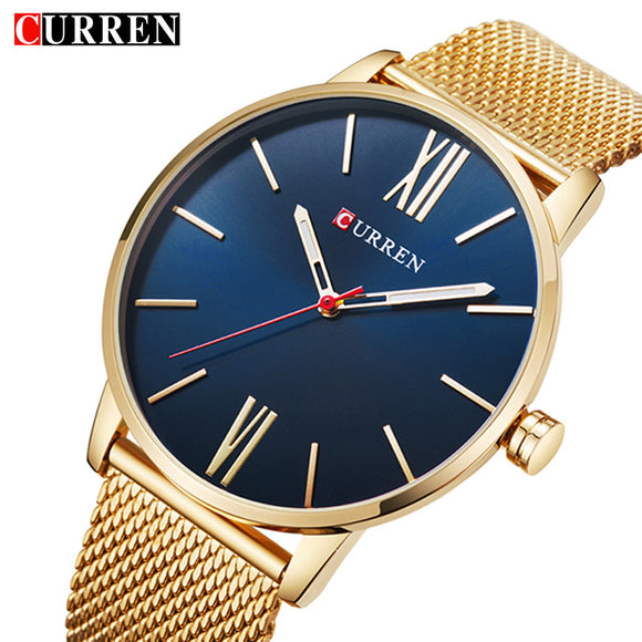 Curren Mens Watches Top Brand Luxury Gold Quartz Men Watch Drop Shipping Mesh