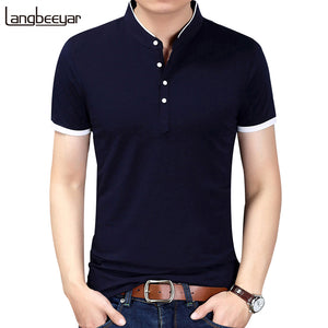 2018 Summer New Fashion Brand Clothing Tshirt Men Solid Color Slim Fit Short Sleeve T Shirt Men Mandarin Collar Casual T-Shirts