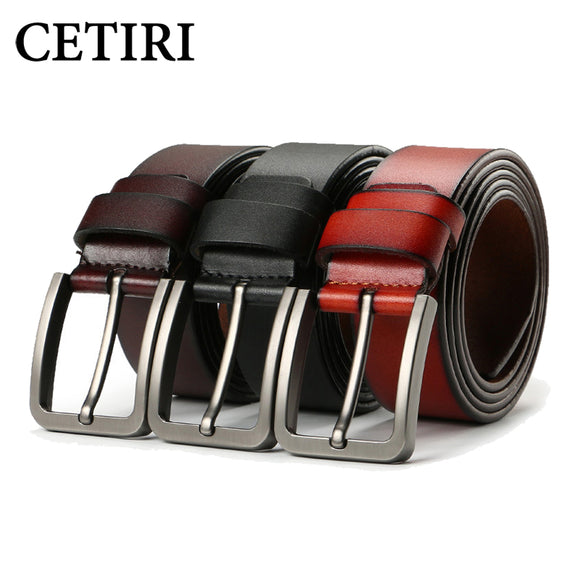 CETIRI 2018 male genuine leather strap high quality luxury brand big buckle belts men