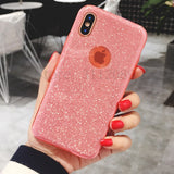 Luxury 3 in 1 Bling Glitter Shining Flash Powder Cases For iPhone X 7 6s 6 Plus TPU + PC Cover Back For iPhone 10 7 6 Plus Case
