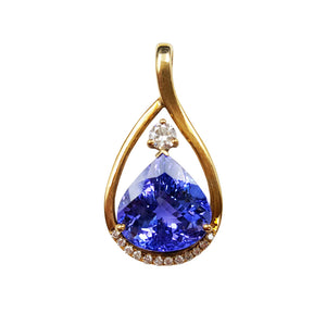 Lii Ji 18K Gold Tear Drop 12.39Ct Natural Tanzanite Diamond Pendant