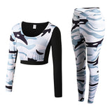 YD New GYM Fitness Tight Women Tracksuit Camouflage Stiching Sweatshirt Sets Yoga Sets Sport Wear Suit Workout Clothing Dropship