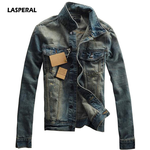 LASPERAL New Spring Autumn Casual Chaqueta Men Denim Jacket Slim Fit Fashion Turn-down