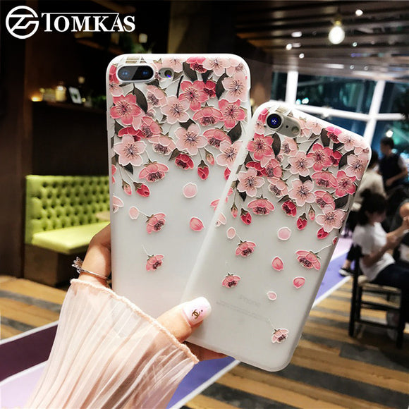 TOMKAS Mobile Phone Case For iPhone 8 7 Cases Silicone TPU 3D Floral Cute Coque Case For iPhone X 10 8 7 6 6S Plus Shell