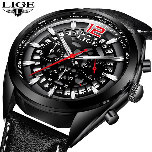 2018 Mens Watches LIGE Top Brand Luxury Business Quartz Watch Men Leather Strap