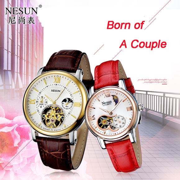 Switzerland Nesun Hollow Tourbillon Watch Men &Women Luxury Brand Automatic Mechanical Lover's Watches Sapphire clock 9091-L