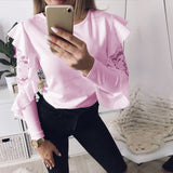2018 Spring Woman Blouse Long Sleeve Shirt Tops Tee Shirts Ruffle Lace Splice Office