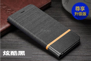Flip Case for BlackBerry Keyone PU+TPU Cover Wallet Canvas Lines Card Slot Leather Phone Case