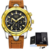 2018 LIGE New Mens Watches Brand Luxury Quartz Watch Men Casual Leather Military Waterproof