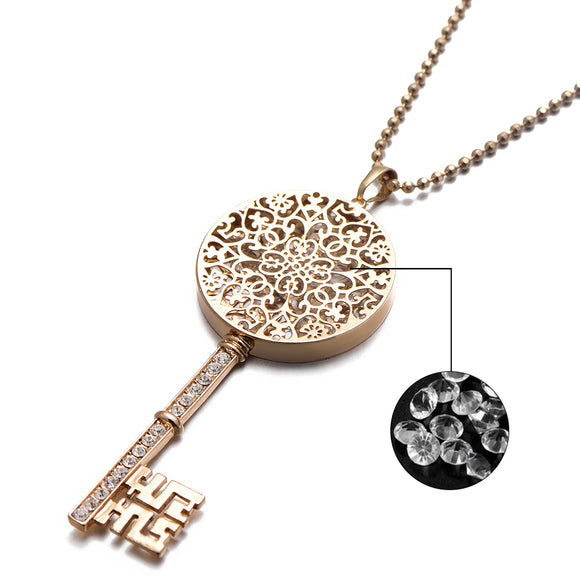 2018 New Year Gift Jewelry For Womens AAA Zircon Stone CZ Set Hollow Key Pendant