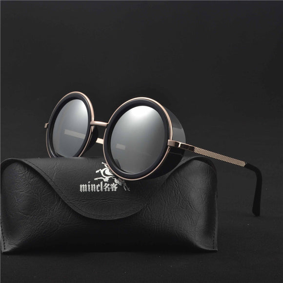 MINCL/Steampunk Sunglasses Men Women Steampunk Glasses 2018 Small Round Gradient