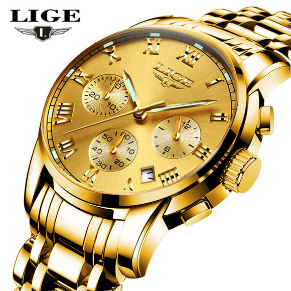 LIGE Mens Watches Top Brand Luxury Business Quartz Gold Watch Men Full Steel Fashion