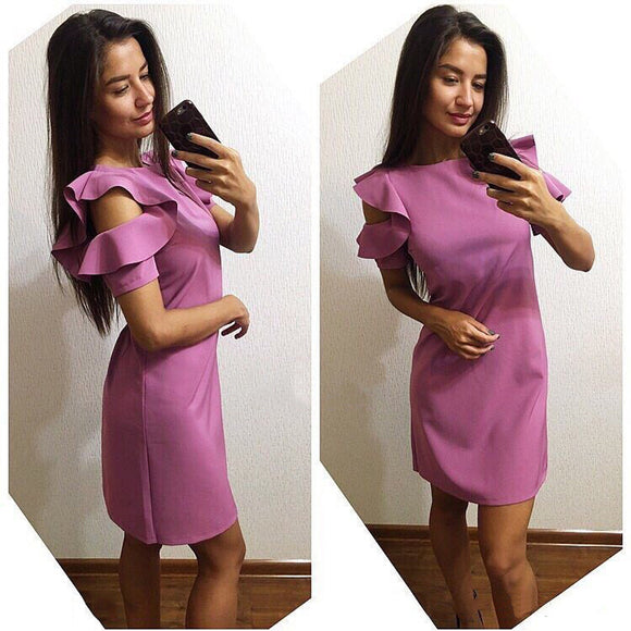 2018 New Trend Purple Women Straight Slim dress Vestidos summer O-Neck Ruffles Short sleeve Beach Casual Party dresses Plus Size